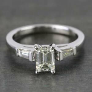 Solid 14k White Gold Certified Engagement & Wedding Ring 2Ct Emerald Cut Diamond