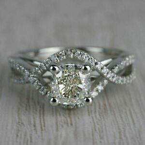 14k White Gold Certified Solid Engagement & Wedding Ring 1.55 Ct Cushion Diamond
