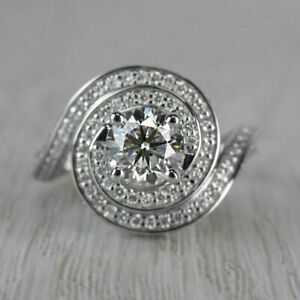 Engagement & Wedding Ring Fancy Solid 14k White Gold Ring 2 Ct Diamond Certified