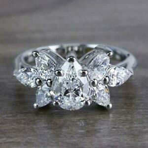 Certified 14k White Gold Solid Engagement & Wedding Ring 2.2 Ct Pear Cut Diamond