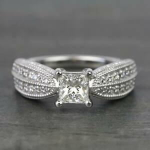 14k White Gold Solid Engagement & Wedding Ring 1.9Ct Princess Diamond Pave Style