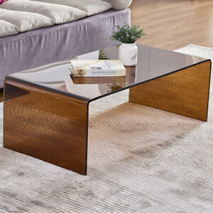 Premium Tempered Glass Coffee Tables for Living Room Modern End TableBrown