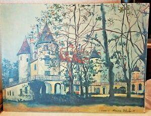 Vintage Maurice Utrillo V. Signed Lithograph Print on Board Stone Castle 24