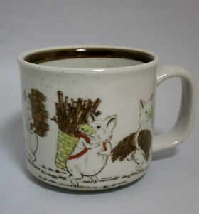Otagiri Hand Crafted Coffee Cup with Three Little Pigs Fable Theme VTG