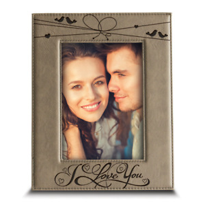 I love you Engraved Leather Picture Frame Valentines Day Gift