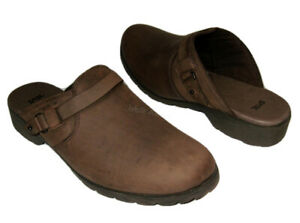 NEW TEVA DE LA VINA MULES BROWN LEATHER SLIP ON DELAVINA WOMENS 8 $29.99