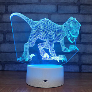 Dinosaur 3D Night Light 7 Colors Touch Switch USB Table Lamp Xmas Gifts for Boys
