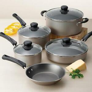 Cookware Set 9 Piece Pots and Pans Non Stick Home Kitchen Cooking Lids Gray Red