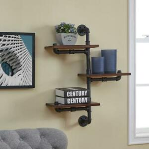 Floating Staggered 24 x 8 3-Tier Wall Mount Storage Shelf Industrial Rustic Pipe