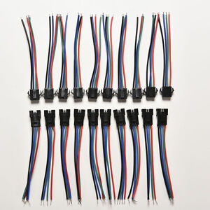 20pcs Male&Female 4 Pin Connectors with wire for 5050/3528 RGB Led Driver/StriDO