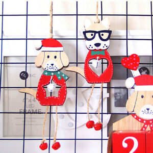 Christmas Dog Ornaments Wooden Pendants DIY Xmas Tree Hanging Ornament Decor DO