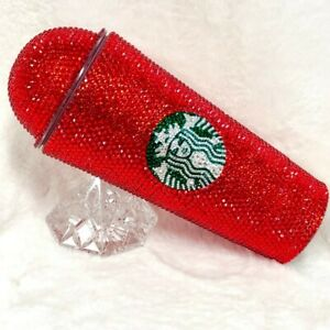 Custom Bling Starbucks Tumbler Venti with Dome Lid Swarovski Red Crystals