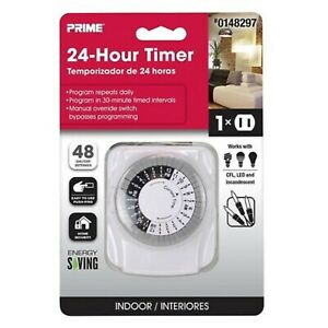 PRIME 1-Outlet Mechanical Countdown Lighting 24 Hour Timer 0148297 NEW