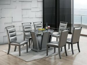 NEW MODERN 7PC GIA GRAY FINISH WOOD & METALLIC SILVER GLASS TOP DINING TABLE SET