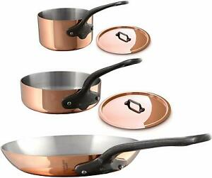 Mauviel M'250c 5 Piece Copper Cast Stainless Steel Cookware Set 6530.05 NEW