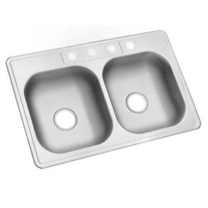 Glacier Bay Drop-in Kitchen Sink 33 in. 4-Hole Stainless Steel 2-Bowl Insulated