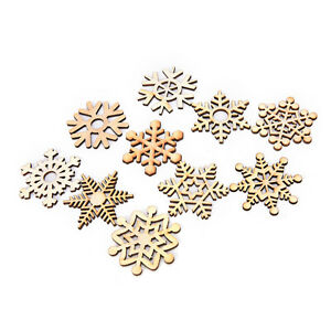 10 Assorted Wooden Snowflake Lasers Cut Christmas Tree Hanging Decors OrnamenDO