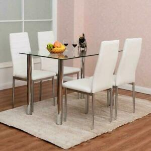 5 Piece Dining Set Glass Table 4 Chairs White PU Leather Kitchen Furniture