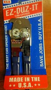 EZ DUZ IT American Made Blue Grips Manual Deluxe Can Opener Made In The USA $12.99
