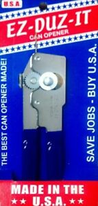 EZ DUZ IT American Made Blue Grips Manual Junior Can Opener - Made In The USA