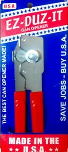 EZ DUZ IT American Made Red Grips Manual Junior Can Opener Made In The USA