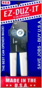 EZ DUZ IT American Made White Grips Manual Junior Can Opener Made In The USA