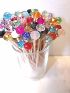 100 Crystal Mix Toothpicks Wedding Christmas Dinner Party Food Picks Appetizer D