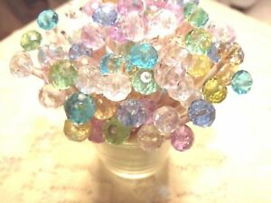 Pastel Crystal Mix Toothpicks Wedding Christmas Dinner Party Food Pick Appetizer