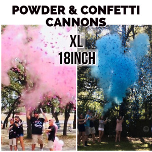 2 XL Gender Reveal Smoke MIX Powder + Confetti Cannons 18 inch | [Choose Color]