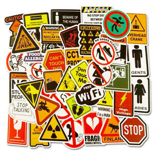 50 Pcs Warning Sign Vinyl Stickers Decals for Laptop Luggage Skateboard Graffiti