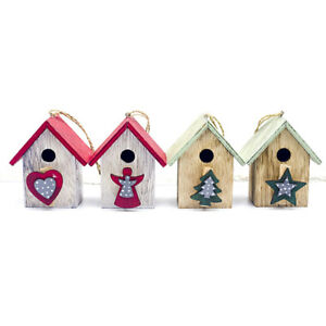1PC Christmas Tree Hanging Wooden Painted House Pendant Ornaments USDO
