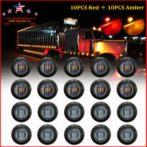 20X Smoked Round Side Marker lights Truck Trailer Amber Red 3 4quot;LED Bullet Light $17.95