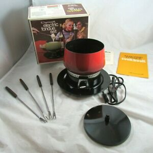 Cornwall Electric Fondue Set Red Forks Recipe Book Complete in Org Box Vintage