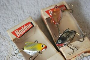 Three Vintage Heddon 327 Ultra Sonic Lures Two Boxes Foil Vibra Flash Like