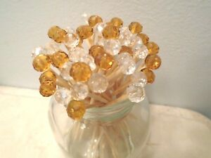 Gold Clear Crystal Toothpicks Wedding Christmas Dinner Party Food Picks