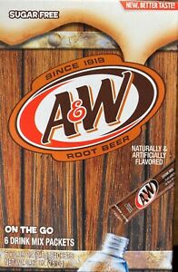 Aamp;W Root Beer Drink Mix 5 Boxes with 6 Packet Each Singles Fresh Sugar Free