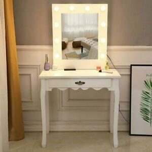 Makeup Vanity Table Set with 10Led Lighted Mirror amp; Drawers White