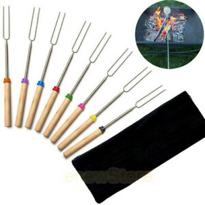 8pcs 32'' Telescoping BBQ Marshmallow Roasting Stick Smores Skewers Hot Dog Fork