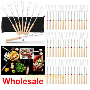 Lot 32'' Telescoping BBQ Marshmallow Roasting Sticks Smores Skewers Hot Dog Fork