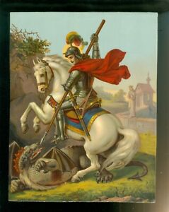 1930s Chromolithography St George Slaying Dragon Print $14.95