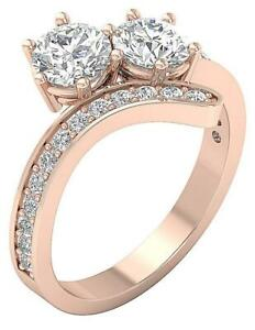 Forever Us Two Stone Ring I1 G 2.10 Carat Natural Round Cut Diamond 14K Gold $1619.99