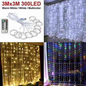 300LED/10ft Curtain Fairy Hanging String Lights Wedding Bedroom Home Decor US