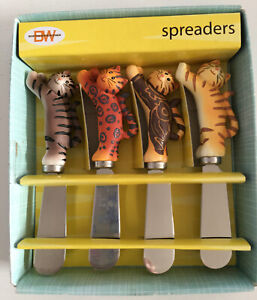 SITTING PRETTY CHEESE SPREADERS SET OF 4 CAT HANDLES  by BOSTON WAREHOUSE #21654