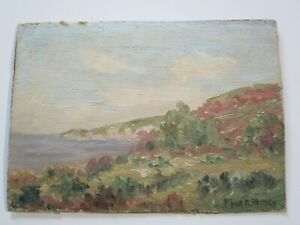 SMALL GEM OIL PAINTING FREDERICK MINER ANTIQUE EARLY OLD CALIFORNIA COASTAL 1910