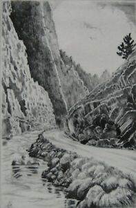 LISTED Lyman Byxbe (1886-1980) ORIG.Signed THOMPSON CANYON Etching #4 NO RESERVE
