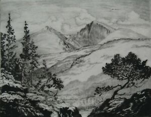 LISTED Lyman Byxbe (1886-1980) ORIG. Pencil Signed LONGS PEAK Etching #5 NO RES.