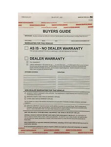 Car Dealer Buyers Guide As Is Warranty Forms # 8250 17 100 per pack