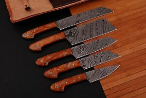 HAND FORGED DAMASCUS STEEL CHEF KNIFE KITCHEN SET WITH RESIN HANDLE - Q958