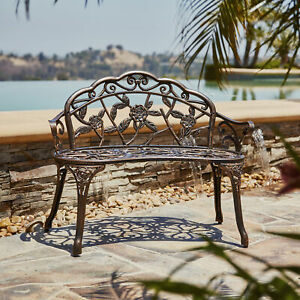 Antique Designed Rose Style Outdoor Patio Park Garden Bench Bronze Love Seat