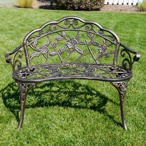 NEW 39quot; inch Antique Style Patio Porch Garden Bench Aluminum Outdoor Chair Rose $129.99